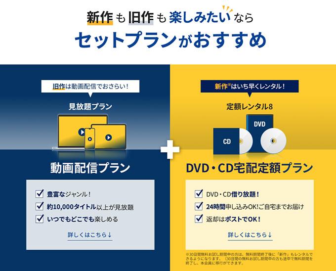 「TSUTAYA DISCAS」と「TSUTAYA TV」のセットプランがお得